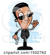 Clipart Of A Waving African American Male Secret Service Agent Royalty Free Vector Illustration by Cory Thoman