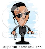 Clipart Of A Sad African American Male Secret Service Agent Royalty Free Vector Illustration by Cory Thoman