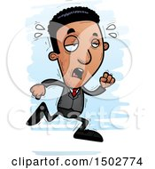 Clipart Of A Tired Running African American Business Man Royalty Free Vector Illustration