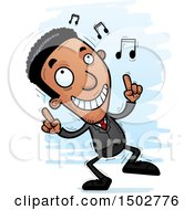 Clipart Of A Dancing African American Business Man Royalty Free Vector Illustration
