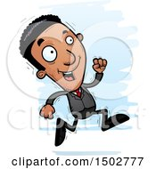 Clipart Of A Running African American Business Man Royalty Free Vector Illustration