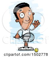 Clipart Of A Waving African American Male Tennis Player Royalty Free Vector Illustration