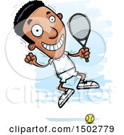 Clipart Of A Jumping African American Male Tennis Player Royalty Free Vector Illustration