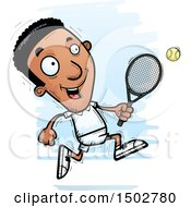 Clipart Of An African American Man Playing Tennis And Running Royalty Free Vector Illustration