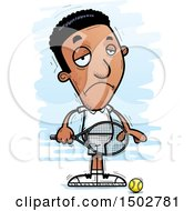 Clipart Of A Sad African American Male Tennis Player Royalty Free Vector Illustration