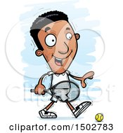 Clipart Of A Walking African American Male Tennis Player Royalty Free Vector Illustration