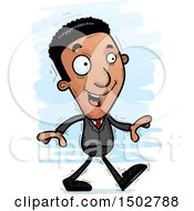Clipart Of A Walking African American Business Man Royalty Free Vector Illustration