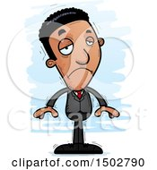 Clipart Of A Sad African American Business Man Royalty Free Vector Illustration