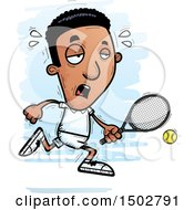 Clipart Of A Tired African American Male Tennis Player Royalty Free Vector Illustration