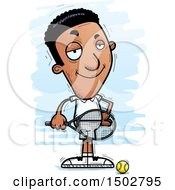 Clipart Of A Confident African American Male Tennis Player Royalty Free Vector Illustration