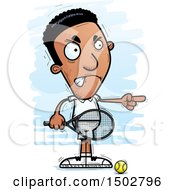 Clipart Of An Angry African American Man Playing Tennis And Pointing Royalty Free Vector Illustration