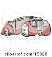 Red And Grey Luxury Sedan Car Clipart Illustration by Andy Nortnik