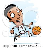 Clipart Of A Running Black Male Basketball Player Royalty Free Vector Illustration by Cory Thoman