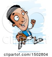 Clipart Of A Running Black Male Football Player Royalty Free Vector Illustration
