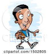 Clipart Of A Walking Black Male Football Player Royalty Free Vector Illustration