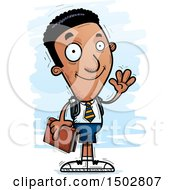 Clipart Of A Waving Black Male College Student Royalty Free Vector Illustration