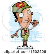 Clipart Of A Waving Black Male Scout Royalty Free Vector Illustration