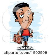 Clipart Of A Confident Black Male Community College Student Royalty Free Vector Illustration
