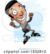 Clipart Of A Jumping African American Business Man Royalty Free Vector Illustration by Cory Thoman