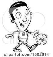 Clipart Of A Black And White Dribbling Black Male Basketball Player Royalty Free Vector Illustration