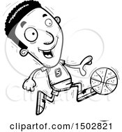 Clipart Of A Black And White Running Black Male Basketball Player Royalty Free Vector Illustration