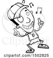 Clipart Of A Black And White Black Male Coach Doing A Happy Dance Royalty Free Vector Illustration