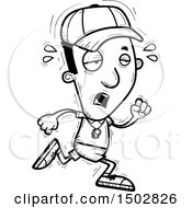 Clipart Of A Black And White Tired Running Black Male Coach Royalty Free Vector Illustration