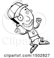 Clipart Of A Black And White Jumping Black Male Coach Royalty Free Vector Illustration