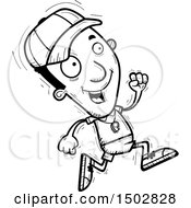 Clipart Of A Black And White Running Black Male Coach Royalty Free Vector Illustration