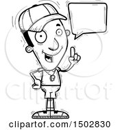 Clipart Of A Black And White Talking Black Male Coach Royalty Free Vector Illustration