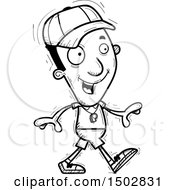 Clipart Of A Black And White Walking Black Male Coach Royalty Free Vector Illustration