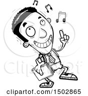 Clipart Of A Black And White Black Male College Student Doing A Happy Dance Royalty Free Vector Illustration