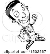 Clipart Of A Black And White Jumping Black Male College Student Royalty Free Vector Illustration