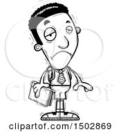 Clipart Of A Black And White Sad Black Male College Student Royalty Free Vector Illustration