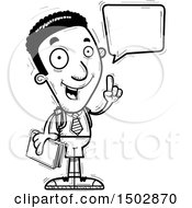 Clipart Of A Black And White Talking Black Male College Student Royalty Free Vector Illustration