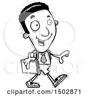 Clipart Of A Black And White Walking Black Male College Student Royalty Free Vector Illustration