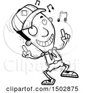 Clipart Of A Black And White Black Male Scout Doing A Happy Dance Royalty Free Vector Illustration