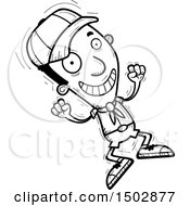 Clipart Of A Black And White Jumping Black Male Scout Royalty Free Vector Illustration
