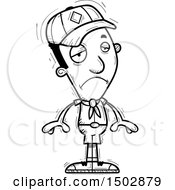 Clipart Of A Black And White Sad Black Male Scout Royalty Free Vector Illustration