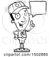 Clipart Of A Black And White Talking Black Male Scout Royalty Free Vector Illustration