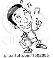 Clipart Of A Black And White Black Male Community College Student Doing A Happy Dance Royalty Free Vector Illustration