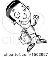 Clipart Of A Black And White Jumping Black Male Community College Student Royalty Free Vector Illustration