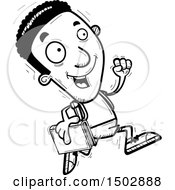 Clipart Of A Black And White Running Black Male Community College Student Royalty Free Vector Illustration