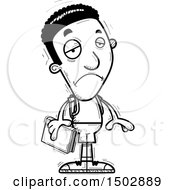 Clipart Of A Black And White Sad Black Male Community College Student Royalty Free Vector Illustration