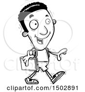 Clipart Of A Black And White Walking Black Male Community College Student Royalty Free Vector Illustration