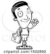 Clipart Of A Black And White Waving Black Male Community College Student Royalty Free Vector Illustration