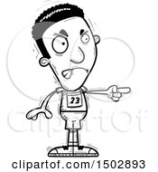 Clipart Of A Black And White Mad Pointing Black Male Track And Field Athlete Royalty Free Vector Illustration