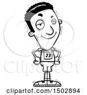Clipart Of A Black And White Confident Black Male Track And Field Athlete Royalty Free Vector Illustration