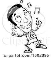 Clipart Of A Black And White Black Male Track And Field Athlete Doing A Happy Dance Royalty Free Vector Illustration