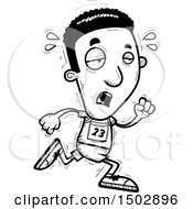 Clipart Of A Black And White Tired Running Black Male Track And Field Athlete Royalty Free Vector Illustration